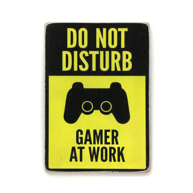 "Постер ""Do not disturb. Gamer at work. Yellow and black"" - 250 руб."