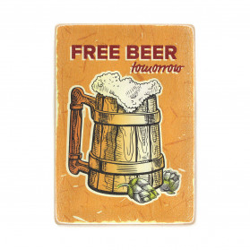 "Постер ""Free beer tomorrow. Wooden mug with beer"""